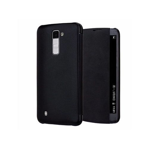 Etui LG K10 Side Quick Cover Czarne - Czarny