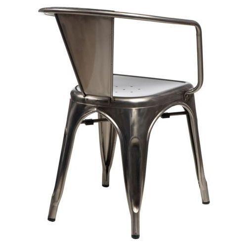 Krzesło paris arms w kolorze metalu insp irowane tolix marki D2.design