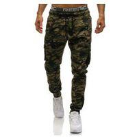 Spodnie męskie joggery bojówki moro-khaki Denley 0705, kolor zielony