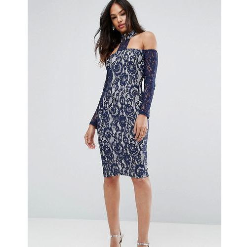 navy long sleeved bardot midi dress - multi marki Ax paris