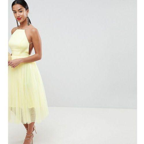 Asos design petite premium scuba pinny midi tulle dress - yellow, Asos petite