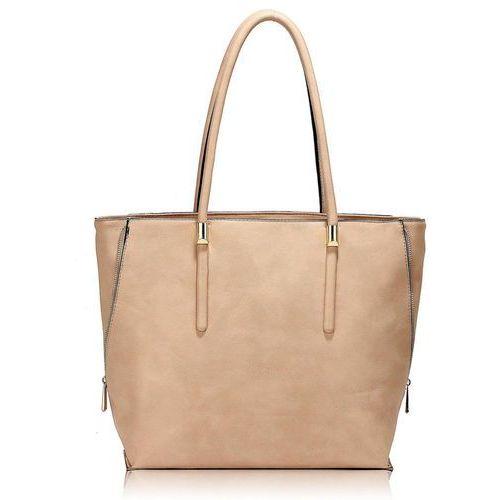 Duża shopperka torebka damska jasny pudrowy róż - różowy marki Wielka brytania