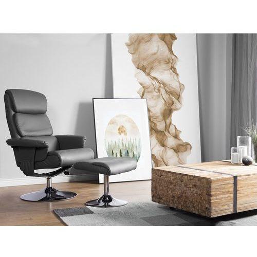 Krzesło biurowe szare z podnóżkiem skóra ekologiczna funkcja masażu LEGEND, kolor szary