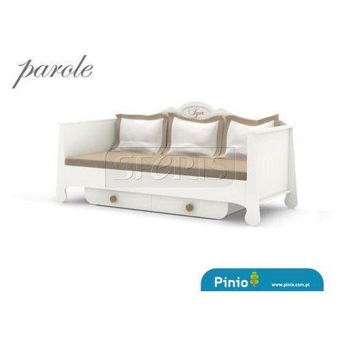 PINIO Parole Łóżko 200x90 MDF białe - brązowy uchwyt - 016-060-058 - sprawdź w wybranym sklepie