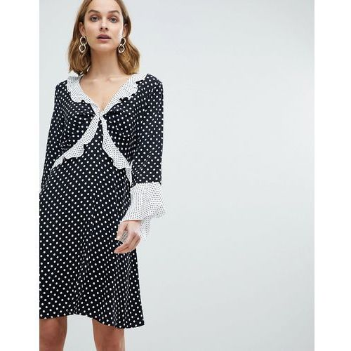 frill front polka dot swing dress - black marki River island