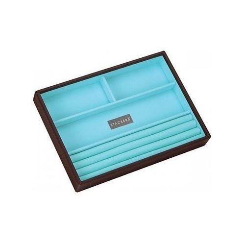 Pudełko na biżuterię 4 komorowe classic Stackers czekoladowo-turkusowe, 70487