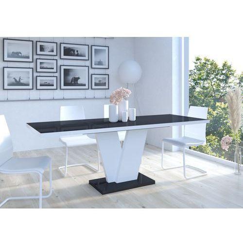 Mato design Stół niko ii 130-210 czarno-biały wysoki połysk