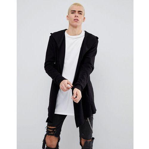 textured cardigan with hood in black - black, Bershka