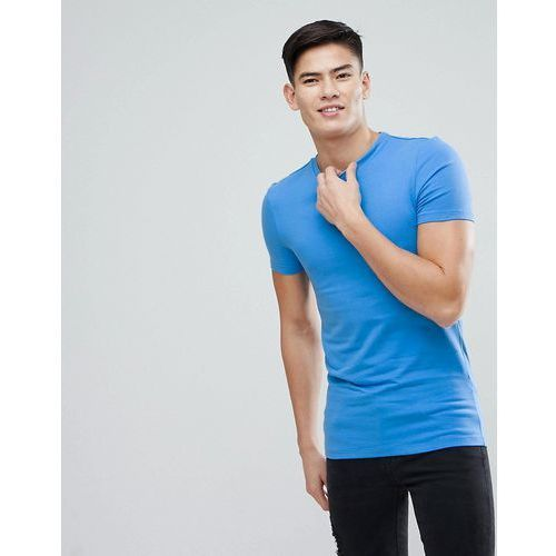 muscle fit t-shirt with crew neck in blue - blue, Asos, XXS-XXXL
