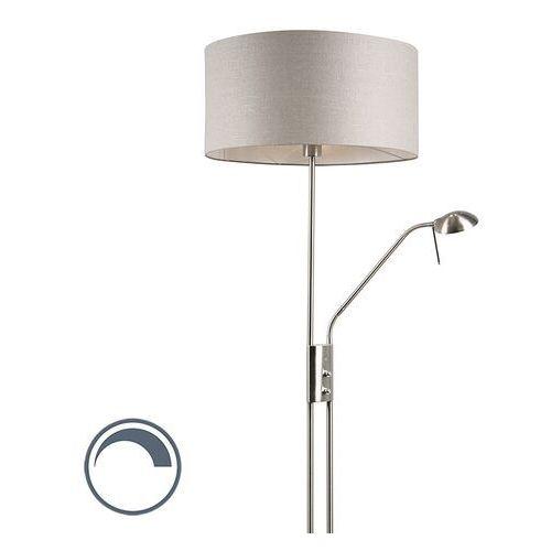 Nowoczesna lampa podłogowa stal z regulowanym ramieniem do czytania klosz postarzany szary - luxor marki Qazqa