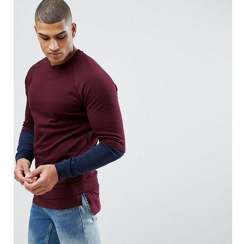 ASOS TALL Sweatshirt With Hem Extender And Contrast Sleeves In Burgundy - Red, w 3 rozmiarach