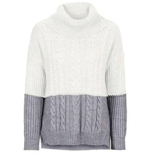 Sweter dzianinowy w warkocze bonprix szaro-biel wełny, z