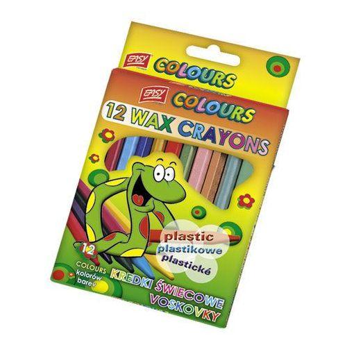 Easy stationery Easy, kredki świecowe, plastikowe, 12 kolorów (5905339484208)
