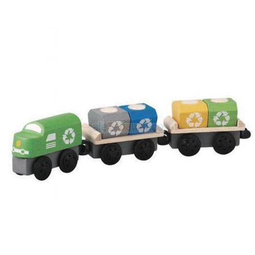 Pociag do przewozu odpadów, zestaw drewnianych wagoników, Plan Toys PLTO-6252 (8854740062529)