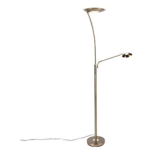 Nowoczesna lampa podłogowa brąz z ramieniem do czytania zawiera led - monte carlo marki Qazqa