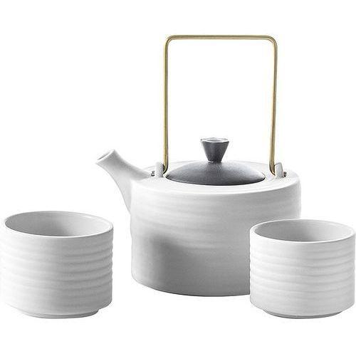 Zestaw do herbaty toczony biały