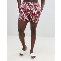 Abercrombie & Fitch pineapple print swim shorts badge pocket logo in burgundy - Red, w 4 rozmiarach