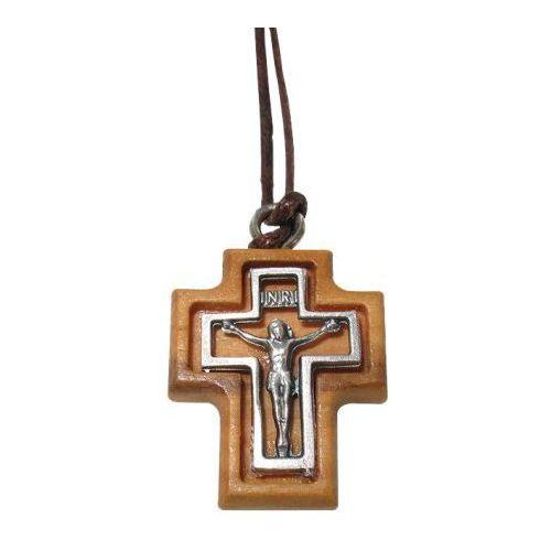 Metalowy krzyżyk w drewnianej oprawie marki Produkt włoski