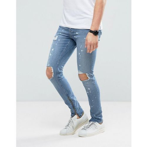 New Look Super Skinny Jeans With Rips And Side Zips In Spray Acid Wash - Blue, jeansy