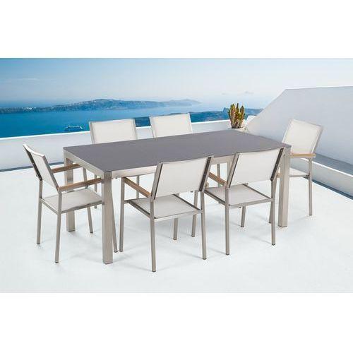 Beliani Zestaw ogrodowy szary ceramiczny blat 180 cm 6 białych krzeseł grosseto (4251682207898)