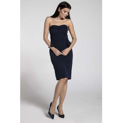 d6d461b1d2 Granatowa koktajlowa sukienka gorsetowa z półbaskinką marki Nommo