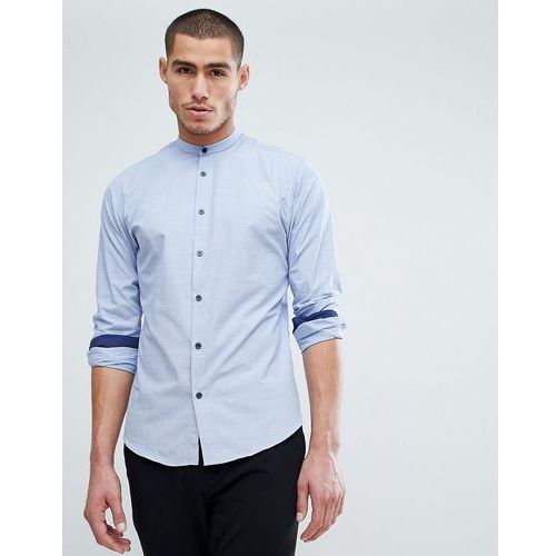Selected Homme Slim Shirt In Mini Grid Print With Contrast Buttons And China Collar - Blue