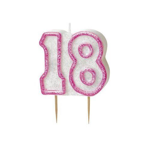 Unique Brokatowa świeczka na 18-tke z różową obwódką - 1 szt.