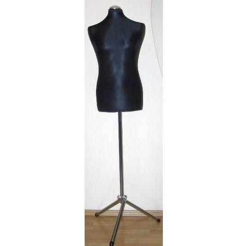 Manekin krawiecki - tors męski krótki czarny - rozmiar L na metalowym trójnogu., 00134