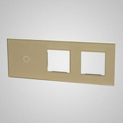 TouchMe Duży panel szklany, 1 x łącznik pojedynczy, 2 x ramka, złoty TM701728728G, kolor złoty