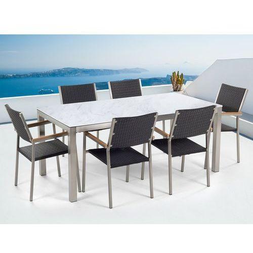 Beliani Zestaw ogrodowy biały ceramiczny blat 180 cm 6 rattanowych krzeseł grosseto (4251682207799)