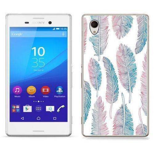 Sony Xperia M4 Aqua - etui na telefon - Kolekcja boho - niebiesko - różowe piórka - J56