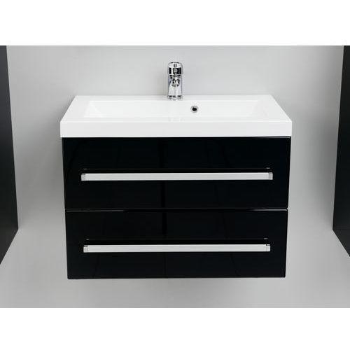 Antado Variete szafka z umywalką, wisząca z dwiema szufladami 60x39x40 czarny połysk FM-C-442/6/2-9017 + UMMC-600X390 z kategorii Szafki łazienkowe