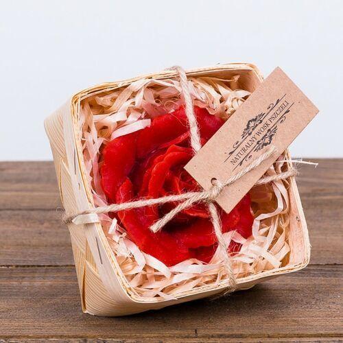 Zestaw: Świeca woskowa czerwona róża w łubiance (45 mm / 80 mm) Łysoń (5906660816447)