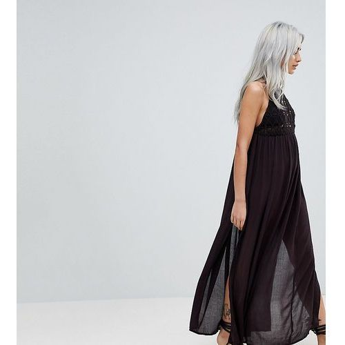 Asos petite Asos design petite premium crochet panel maxi beach dress - black