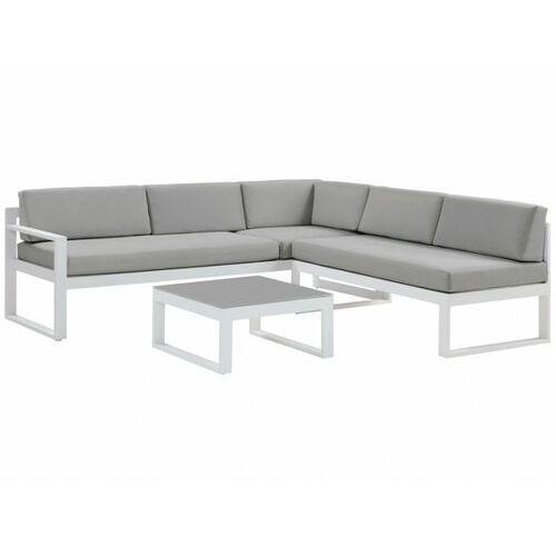 Salon ogrodowy palaos — ława i 6-osobowa sofa narożna z regulowanym kątem nachylenia jednego z siedzisk — szary marki Vente-unique