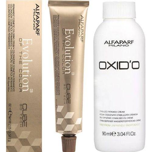 evolution zestaw do koloryzacji włosów farba 60ml + oxydant 90ml 1 czerń 6 % - 20 vol. marki Alfaparf