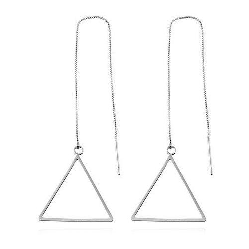 Kolczyki długie trójkąty srebrne - SREBRNE, kolor szary
