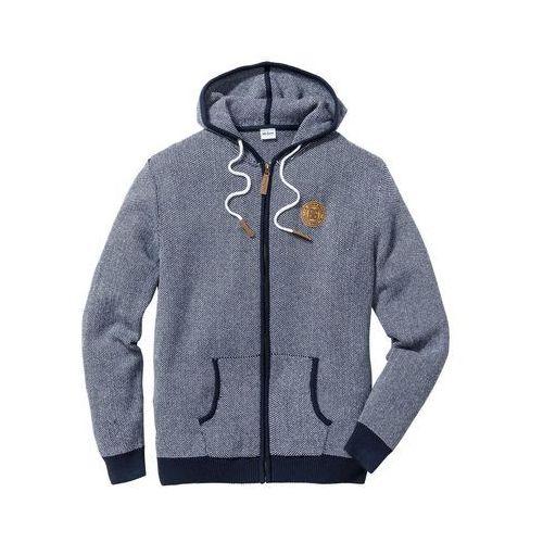 Sweter rozpinany regular fit ciemnoniebiesko-biały marki Bonprix