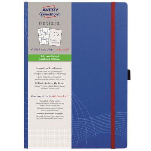 Notatnik NOTIZO A4 w kratkę w plastikowej okładce 80 kartek, niebieski