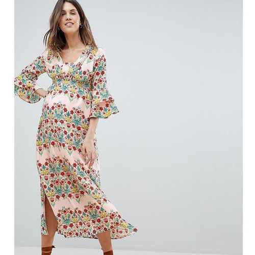 Mamalicious Floral Prairie Maxi Dress With Ruffle Sleeves - Multi