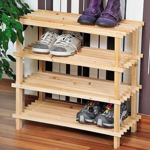 Gustowny stojak na buty z drewna sosnowego, regał na buty, szafka na buty do przedpokoju, półka na buty, drewniana półka, marki Kesper - OKAZJE