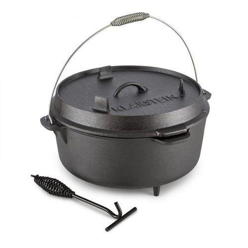 Klarstein hotrod 145 dutch oven garnek żeliwny bbq 12 qt/11,4 l czarny (4260435912309)
