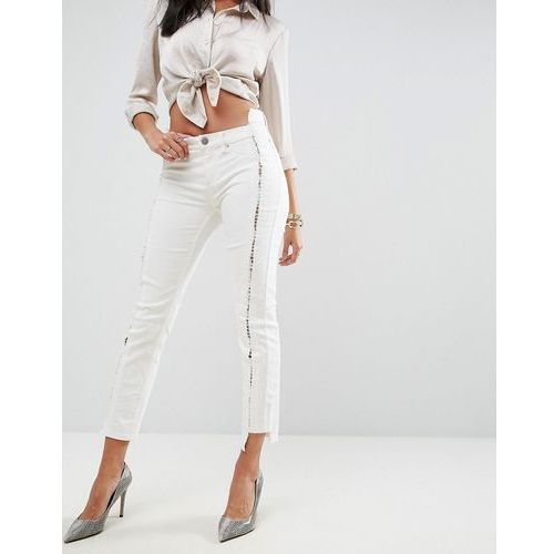 ASOS PREMIUM WHITBY Low Rise Skinny Jeans in Natural Tone with Lace Up Front - White, jeans
