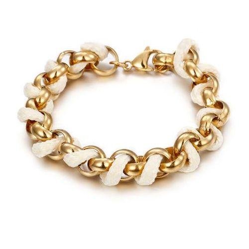 Bransoletka pozłacana 18K złotem - z wplecionym sznureczkiem