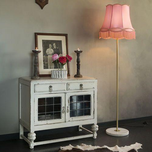 Qazqa Lampa podłogowa kaso mosiądz z kloszem granny 45 cm różowym