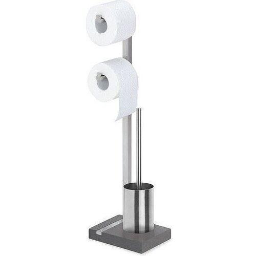 Stojak na papier toaletowy podwójny oraz szczotka do WC Menoto matowy