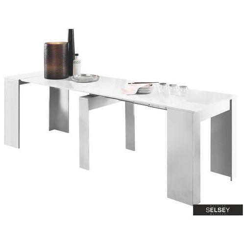 SELSEY Stół rozkładany Dadivosa 54-252x79 cm biały połysk (5903025424729)