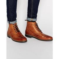 Red tape brogue boots - brown