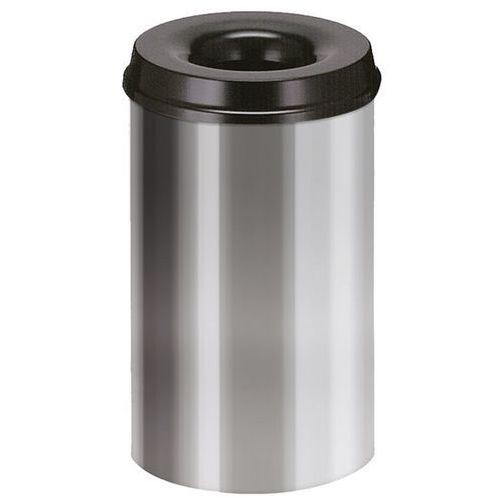 Kosz na papier, samogaszący, poj. 20 l, korpus srebrne aluminium / głowica gaszą