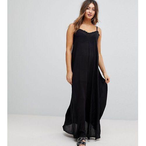 ASOS Maternity Scoop Back Maxi Dress in Crinkle - Black, kolor czarny